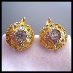 Antique Russian 18K Gold Paste Earrings Victorian