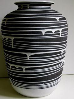 "Mid Century Very rare Schlossberg keramik ceramic ""Roulette"" floor vase West Germany WGP Manufacturer: Schlossberg keramik Designer: Liesel Spornhauer Date: 1954 42cm"