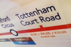 Fare boost: This joke sticker includes details of an £8 'tourist tax' payable at Tottenham Court Road