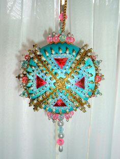 Satin beaded Christmas ornament kit - Aqua Reef. $14.99, via Etsy.