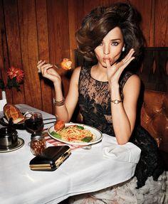 Miranda Kerr with pasta