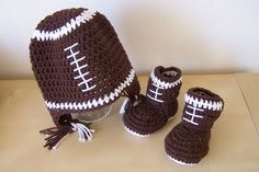 baby boy football hat and booties