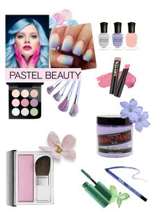"""pretty pastels"" by a-k-ryan ❤ liked on Polyvore featuring beauty, Deborah Lippmann, MAC Cosmetics, Clinique, Manic Panic NYC and MAKE UP FOR EVER"