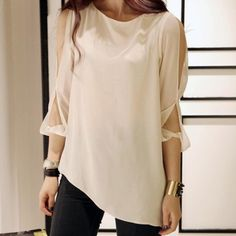 """This sexy and stylish chiffon top features a round neckline, shoulder cut sleeves, and an irregular hem. A great fit for day or night. Standard Women's Sizes Petite - 4'11"""" to 5'3"""" Average 5'3 1/2"""" to"""