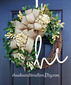 Cream Hydrangea WreathSummer WreathFarmhouse WreathYear