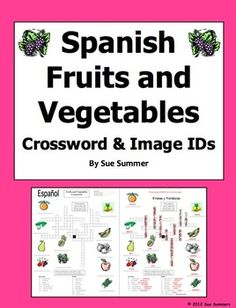 Spanish Fruits and Vegetables Crossword Puzzle by Sue Summers - 16 words for the puzzle and 11 images to identify - Spanish Food