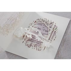 Forest Pocket with Laser Cut Design in White, this invitation is graced with fabulously intricate leaves, trees, and birds, wedding details inside. Laser Cut Invitation, Laser Cut Wedding Invitations, Forest Friends, Laser Cutting, Garden Wedding, Wedding Details, 3 D, Floral, Pocket