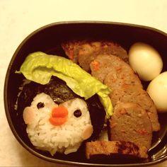 Pingu Bento Burger patty with vegetable and quail eggs