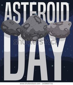 Threesome of asteroids with craters and space belt view and big glossy sign to celebrate Asteroid Day. Royalty Free Stock Photos, Sign, Belt, Space, Illustration, Pictures, Belts, Floor Space, Photos
