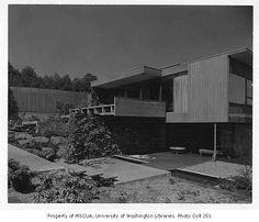Paul Hayden Kirk    Dowell residence exterior from rear, Seattle, 1956