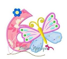 Butterfly Number 6 Applique - 3 Sizes! | What's New | Machine Embroidery Designs | SWAKembroidery.com Dollar Applique