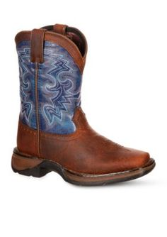 DURANGO Dark Brown And Blue Lil Rebel Western Boots- Toddler-Youth Sizes