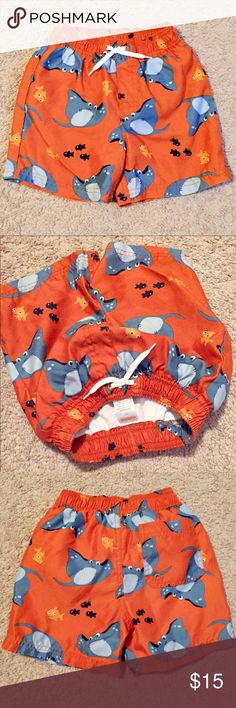 Gymboree Boys Shark & Fish Swim Trunks sz 3T Boys Shark & Fish Swim Trunk size 3T. In good used condition! Everything is from a clean and smoke free home. Please refer to the pictures, as they are part of the description. Make sure to ask any questions you may have and check out the other items in my closet and bundle items together for an awesome deal! Gymboree Swim Swim Trunks