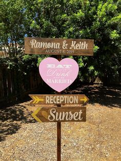 Wedding Directional Signs Rustic Wedding  Decor by OneCoopedChick