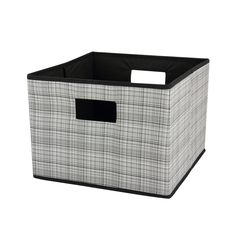 Open Storage Bin, Gray Plaid