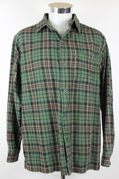Levis Red Tab Shirt size Large Lumberjack Plaid Forest Green Mens Button Front #Levis #ButtonFront