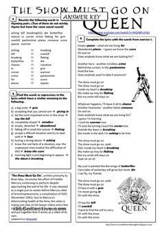 (song) The Show Must Go On - Queen worksheet - Free ESL printable worksheets made by teachers English Activities, Music Activities, Teaching Activities, Listening English, Teaching English, Comprehension Activities, Reading Comprehension, English Lessons, Learn English