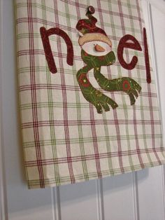 Snowflake the Snowman a Homespun Tea Towel - Christmas Home Decor