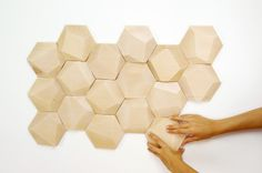 geometric wood wall tiles