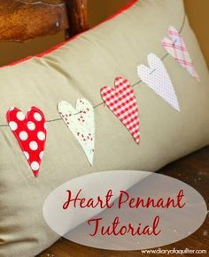 I wrote this tutorial last year for Ucreate, and decided this year to share the whole thing on my own blog for the first time. This throw pillow can be made any size or shape your heart desires and comes together very quickly. Supplies needed:  WonderUnder or HeatNBond – enough to trace 5 hearts Scraps …