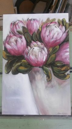 Yogi's proteas - oil on canvas - Melissa Von Brughan Mini Canvas Art, Abstract Canvas Art, Oil Painting Abstract, Acrylic Art, Watercolor Art, Oil Paintings, Watercolor Flowers, Protea Art, Protea Flower
