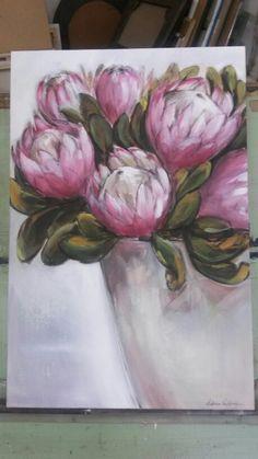 Yogi's proteas - oil on canvas - Melissa Von Brughan
