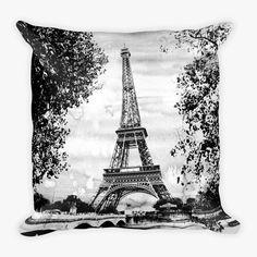 Paris Eiffel Tower - Pop Art Throw Pillow (B&W)