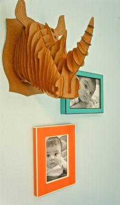 cute vignette with cardboard taxidermy