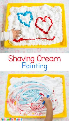 Shaving Cream Painting Process Art for Preschoolers - Painting Ideas Valentines Day Activities for PreschoolersNeed inspiration? We've got all the Valentines Day activities for preschoolers you could possibly need with crafts, sensory play ideas, Preschool Art Activities, Toddler Learning Activities, Infant Activities, Process Art Preschool, Activities For 5 Year Olds, Sensory Activities For Toddlers, Autism Preschool, Toddler Painting Activities, Toddler Painting Ideas