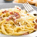 Buy Carbonara pasta, spaghetti alla carbonara by sea_wave on PhotoDune. Carbonara pasta, spaghetti with pancetta, egg, hard parmesan cheese and cream sauce. Pasta A La Carbonara, Salsa Carbonara, Pate Spaghetti, Spaghetti Recipes, Pasta Recipes, Italian Pasta Dishes, Breakfast For Dinner, Linguine, Italian Recipes
