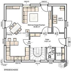 Dieses und viele Häuser mehr gibt es auf Fertighaus.de – Ihr Hausbau aus einer Hand: Schnell, preiswert und von geprüften Anbietern. House Plans, Floor Plans, How To Plan, Home, Houses, Plants, Future House, Gable Roof, Wooden Cottage