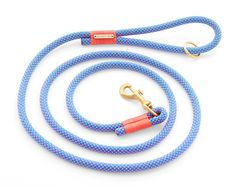 Neon Tetra dog leash, blue and pink climbing rope dog lead with brass hardware and coral accents