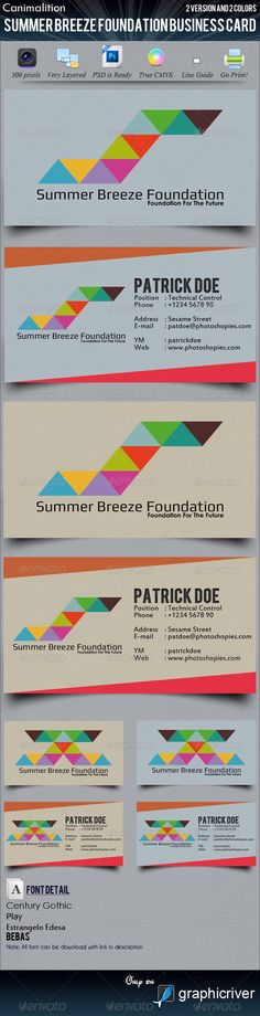 Summer Breeze Foundation Business Cards  #GraphicRiver        - Don't forget to Follow Us, View our Portfolio & Contact Us    - Business Card – Summer Breeze Foundation Thank you for visiting our item, and if you're interested, here the item description for you. Summer Breeze Foundation BC, with 2 color and 2 version.   Very Layered  Editable Text  Easy Change Color  Line Guide, and many more  - Font   Bebas –  .dafont /bebas.font  Estrangelo Edessa –  .microsoft…
