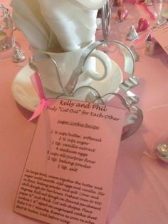 Personalize cookie cutter favors with a personal recipe.  See more cookie cutters wedding favors and party ideas at www.one-stop-party-ideas.com