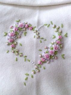 vitage embroidery - gorgeous!!!  I wonder how the roses are made...
