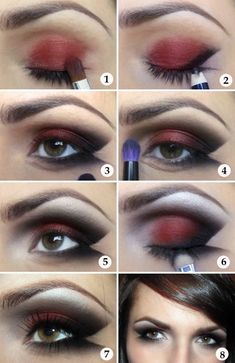 Make-up Tutorial Lady Vamp schwarz rot # prom makeup black Make-up Tutorial Lady Vamp schwarz rot # prom Cute Halloween Makeup, Halloween Eyes, Halloween Looks, Easy Halloween, Halloween Tutorial, Ladies Halloween Costumes, Vampire Costumes, Halloween Candy, Halloween Stuff