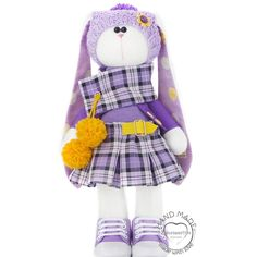Handmade Stuffed bunny doll, Fabric doll bunny 14 inch for girl, Easter rabbit plush. Limited edition. The toy is sold together with the clothes, as in the photo. Stuffed bunny height 14.57 inches. Made with love and care about the quality. It is filled with polyester fiberfill (like pearl) which is child friendly. These soft toys are well suited as a toy for children, as well as baby gift or even as a home decor. Hat, skirt and shoes can be removed from the toy. Not for children under 3…