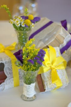 Cadbury purple and yellow wedding theme for 1950's style wedding in Manchester