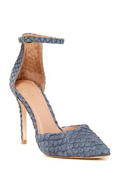 Amazing Joie Gillian Ankle Strap Embossed Sea Skin Leather Pumps