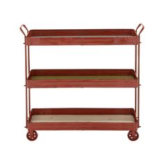 Make a stylish impact in your living room, kitchen, or den with this rustic red shelving unit. The distressing and decorative wheels give it a decidedly vintage-inspired look, while three tray-like she...  Find the Red Wagon Trolley Shelf, as seen in the Storage Collection at http://dotandbo.com/category/decor-and-pillows/organization/storage?utm_source=pinterest&utm_medium=organic&db_sku=101466