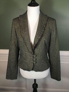ANN TAYLOR LOFT Womens Wool Blend Gray Tweed Ruffle Collar Blazer Jacket 8 #AnnTaylorLOFT #Blazer