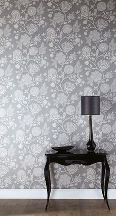 lovely grey floral wallpaper