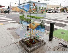 Street Art interagindo com o ambiente! Dá até para ficar na dúvida!
