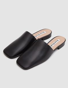 "Square toe flat from Acne Studios in Black. Nappa leather upper. Padded footbed. Leather lining. Low covered heel. • Leather upper • Leather sole • 0.75"" heel • Made in Italy"