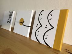 3 Canvas Set with Black & Goldish-Yellow Ocher Autumn Morning, Small Canvas, Decorate Your Room, Canvases, Watercolor Art, Seaside, Art Decor, Art Pieces, Asian