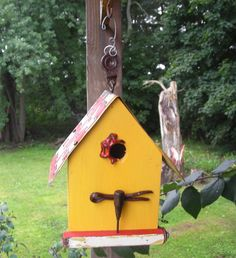 Primitive Yellow and Red Tool Bird House with seed by Imperfetions, $30.00