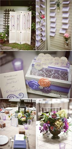 A clever alternative to a guestbook - guestcards! And I think this could work for place seating too. #purpleweddings #escortcards