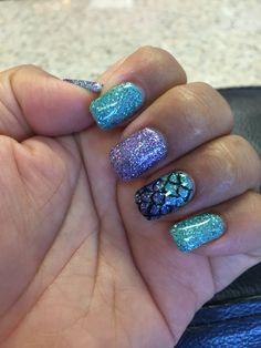 Little mermaid inspired nails for my Halloween costume this year! :)