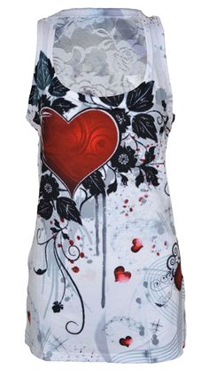 Innocent Rose Heart Lace Vest | Gothic Clothing | Emo clothing | Alternative clothing | Punk clothing - Chaotic Clothing