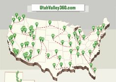 Map of how to visit every temple in the USA